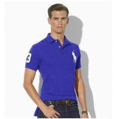 Ralph Lauren White Polo Logo Breathable Dark Blue Short Sleeved http://www.