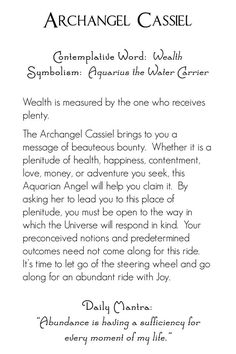 Archangel Cassiel | back | Mystic Angels Oracle 20