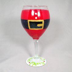 Santa Wine Glass, great gift idea for santa collectors