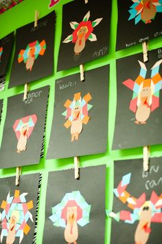 Symmetrical Turkeys with tangram shapes.  I need this one this week!
