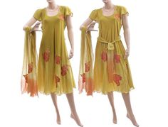 Artistic boho hand dyed dress with scarf and belt von classydress