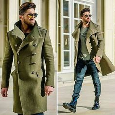 Something as simple as teaming an army green overcoat with navy jeans can potentially set you apart from the crowd. Go for a pair of black leather dress boots for a masculine aesthetic. Shop this look on Lookastic: https://lookastic.com/men/looks/olive-overcoat-olive-crew-neck-t-shirt-navy-jeans/22752 — Olive Overcoat — Olive Print Crew-neck T-shirt — Navy Jeans — Black Leather Dress Boots