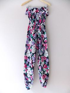 fe0963f282 Floral Jumpsuit Size Small Strapless Ruffle Grunge Vintage 80s Pant Suit