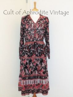 Vintage 70s Indian Cotton Gauze Ethnic Floral Empire Waist Puff Sleeves Hippie Sheer BOHO Tiered Midi DRESS