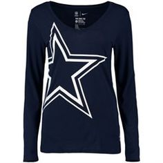 Nike Dallas Cowboys Women's Navy Logo Wrap Tri-Blend V-Neck Long Sleeve T-Shirt