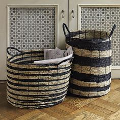 west elm indonesian woven baskets (and pattern of screen on doors)