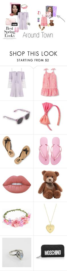 """""""Noelle and sophia's day around town"""" by sadie3132 on Polyvore featuring H&M, Havaianas, Lime Crime, Gund, Playtex, JFR, John Lewis and Moschino"""