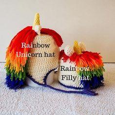 Rainbow unicorn crochet hat - RAINBOW unicorn hair, yellow horn, purple trim / ear flap ties - perfect handmade unicorn gift for girls Baby Unicorn, Unicorn Hair, Unicorn Gifts, Rainbow Unicorn, Crochet Unicorn Hat, Crochet Hats, Birthday Gifts For Kids, Gifts For Girls, Crochet Character Hats