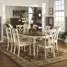 Shayne Country Antique Two-tone White Extending Dining Set by iNSPIRE Q Classic (5-piece with four side chairs), Brown, Size 5-Piece Sets