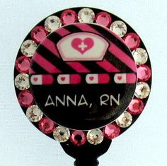 Custom Name Badge Holder, Choose Your Color, Nurse Theme with Swarovski Rhinestones Id Badge, Badge Reel, Stethoscope Id Tag, Name Badges, Badge Holders, Swarovski, Great Gifts, Nurse Stuff, Fancy