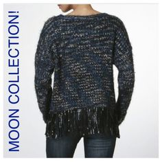 "FOUR AVAILABLE! Moon Collection Sweater! FOUR AVAILABLE! HP ""Weekend Wardrobe"" 1/10/16, by @ lauras_boutique, thank you sweet PFF!CUTE SWEATER BY MOON COLLECTION! This sweater is blue and black, has black vegan leather fringe, PLUS beautiful sequins lightly scattered throughout. Sparkly and Soft! ❣Price Firm unless bundled. ❣ Moon Collection Sweaters Crew & Scoop Necks"