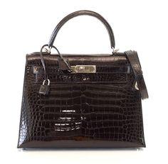 HERMES KELLY 28 bag Black Porosus Crocodile palladium  Hermes   TotesShoppers NEW available mightykismet ebay 48b8568a0f2fc