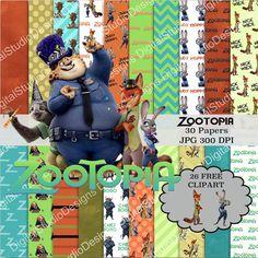 ZooTopia Digital Paper Pack  30 Papers  26 by DigitalStudioDesigns