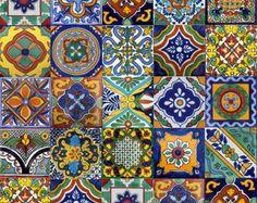 100 azulejos de mosaico mexicano 2 x 2