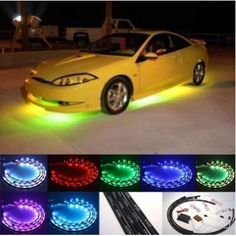 """INFONONLINE 7 Color LED Under Car Glow Underbody System Neon Lights Kit 48"""" x 2 & 36"""" x 2 w/Sound Active Function and Wireless Remote Control by LED. $31.95. Key Features  Produces 7 colors: Blue, Green, Purple, Red, Teal, White, and Yellow 15 color / flashing modes Composed of 180 LEDs Sound activation mode, the LEDs light up according to beat of music. Wireless keychain remote control Waterproof and flexible Knowledge on automobile customization are required (wiring, remove /..."""