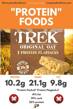 "‼️ My own little rant on pointless 'protein' foods continues, with these flapjacks from Trek. As a source of protein, there's far better options out there... . 🦄With 80% of the calories of the flapjack coming from carbs and fat, it could be more accurately relabelled as a ""Carb & Fat Packed Flapjack"". The protein content is a miserable 10g. To me that doesn't constitute a good protein source. . ❌If you compare that to any other popular protein bars, you'll see that the macros could (and…"