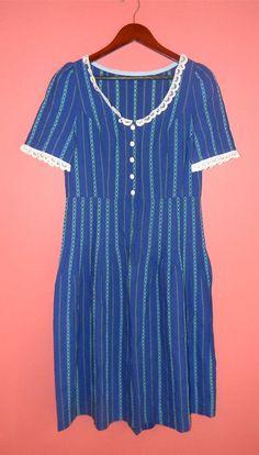 Vtg Vintage 50s 60s Blue Striped Eyelet Lace by PinkCheetahVintage, $40.00
