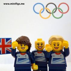Dani King, Joanna Rowsell, and Laura Trott celebrate smashing an Olympic Record, World Record and winning a Gold Medal in the Women's Track Pursuit at the Velodrome by being made out of Lego! Dani King, Olympic Records, Gold Medal Winners, Lego Minifigs, Team Gb, Quirky Gifts, Cool Lego, Legoland, Olympic Games