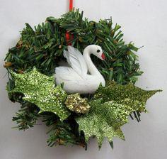 Christmas Swan Swimming Ornament 109 by NoelBelles on Etsy