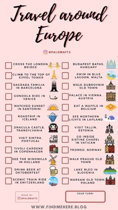 Travel Checklist, Travel List, Travel Goals, Travel Essentials, Free Travel, Travel Europe, Travel Guides, Beautiful Places To Travel, Cool Places To Visit