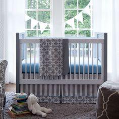 Gray Geometric Crib Bedding