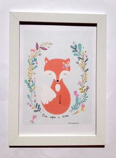 Decor for the home, kids room, art print for nursery, Original birth gift Poster for children Once upon a time Mrs fox and his friends, pretty Illustration Mignonne, Fox Illustration, Spring Drawing, Baby Room Art, Kawaii Room, Poster Prints, Art Prints, Little Birds, Time Art
