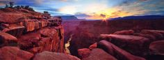 """PETER LIK """"BLAZE OF BEAUTY (GRAND CANYON, AZ)"""" Panorama Photograph Print Size: 19 x 58 in  