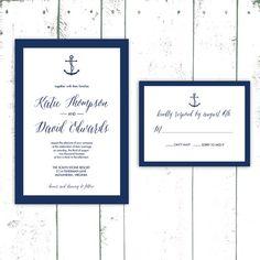 Anchor Wedding Invitations Navy Striped by MooseberryPrintShop, $50.00