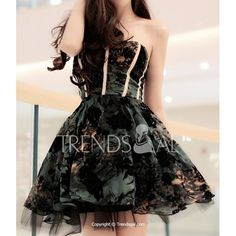 Sexy Strapless Striped Floral Pattern Ball Gown Women's Dress