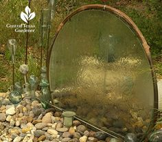 Upcycle an old glass, broken glass, or plexiglass, table top into a unique and fun waterfall using copper tubing and hose connections. As a backdrop, privacy screen, or part of your foreground, one thing is for certain: nobody will have another one quite like it!