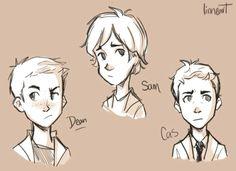 Dean, Cas, and Sam Kids Supernatural CUTENESS OVERLOAD
