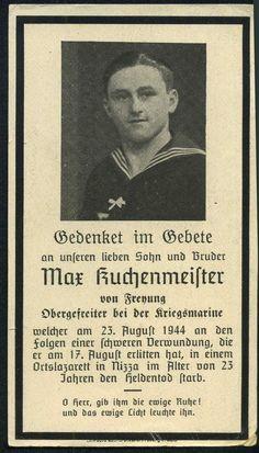 orig. WK2 STERBEBILD - DEATH CARD - KRIEGSMARINE - NIZZA / FRANKREICH 1944