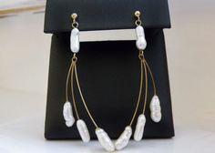 "Estate 14K Yellow Gold Pearl MODERN 2.5"" Long Dangle Branch Vine Earrings USA #Designer #DropDangle"
