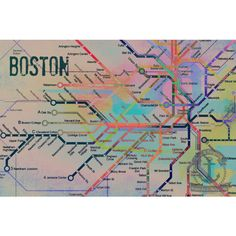 The Colors De Boston Boston T City Transportation Map Art Product... (24 BAM) ❤ liked on Polyvore featuring home, home decor, wall art, grey, home & living, home décor, gray home decor, disney wall art, map home decor and disney home decor