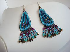 Handmade+bead+embroidery+earrings+with+shibori+silk+by+Beabead,+Ft6200.00