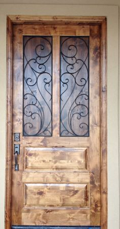 Rustic front door -alder wood -walnut stain - March 02 2019 at Rustic Entry, Rustic Doors, Wooden Doors, Exterior Doors, Entry Doors, Front Entry, Oak Doors, Walnut Doors, Panel Doors