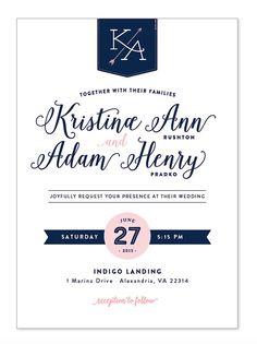 Elegant Wedding Invitations Navy and Pink by MaureenDesignsCo