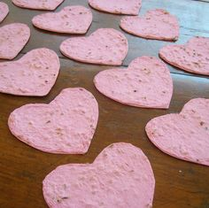 Plantable paper hearts  Pink hearts made of handmade by PulpArt, $10.20