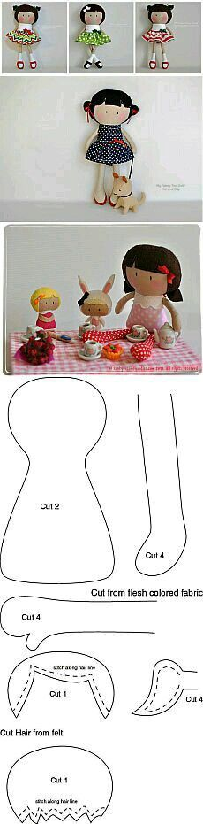 I Love Crafts: Doll with mold Doll Crafts, Diy Doll, Sewing Crafts, Sewing Projects, Diy Clothes Patterns, Rag Doll Patterns, Fabric Toys, Sewing Dolls, Doll Tutorial