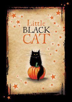 Pequeña tarjeta de Halloween de gato negro por MADOLDCATLADY