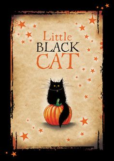 Little Black Cat Halloween card