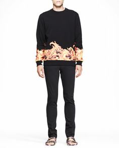 Flame-Print Cuban Sweatshirt & Camo-Zip-Inlay Denim Jeans  by Givenchy at Bergdorf Goodman.