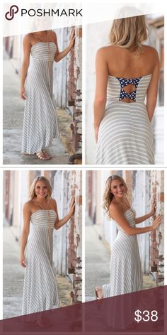 """Boutique Striped Maxi Hi-Low Strapless Maxi Dress Gorgeous Striped Hi-Low Strapless Maxi Dress,  Gorgeous detail on the back. Beautiful, Unique dress with a Hi-Low design and detailed designs on the back,  Comfortable and flowing. Bust measurements: Med-15"""", Large -16"""".  Length, Front/Back:. Med- 41-47, Large - 42-48. Infinity Raine Dresses Maxi"""