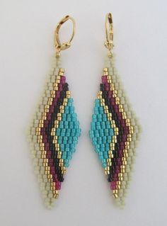 These pretty earrings are handmade with opaque turquoise, transparent matte purple, matte bone, opaq Seed Bead Jewelry, Seed Bead Earrings, Diy Earrings, Seed Beads, Beaded Jewelry, Earrings Handmade, Beaded Earrings Patterns, Seed Bead Patterns, Beading Patterns