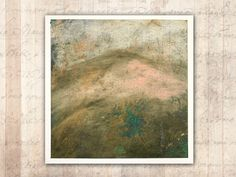 Original Painting of Hillside in Spring — Unframed Painting on Paper in Cold Wax and Oil