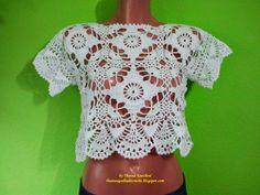 Thainá Agulha de Crochê: Mini blusa de crochê / Gehäkelte top