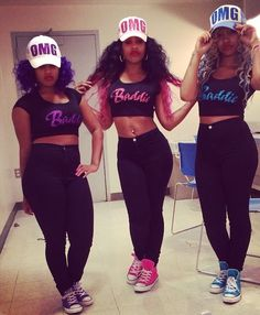 OMG Girlz Hat Baddie Crop Top Converse Taylor Chucks Pink Blue Purple Black Beauty Mixed Chicks Pretty Girl Swag Curly Hair Dope Clothing Urban Streetwear Fashion Style Trend Squad Shxt