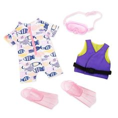Buy Our Generation - Snorkelling Outfit at Mighty Ape NZ. Our Generation: Regular Outfit – Snorkelling Outfit Your child's favorite Our Generation doll is about to get a whole new look with this Our Generati. Our Generation Doll Clothes, Poupées Our Generation, Our Generation Doll Accessories, Ropa American Girl, American Girl Doll Sets, Swim Fins, Baby Alive Dolls, Girl Dolls, Og Dolls