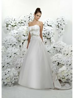 Satin Strapless Scalloped Neckline Ruffled Bodice A-line Wedding Dress