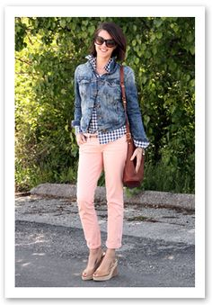 e7be08b406 color combo of blush pants with denim jacket and blue white shirt Pink  Jeans Outfit